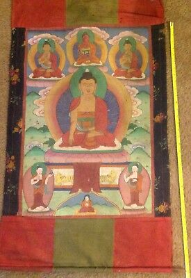 """RARE!!! NEPAL!! THANGKA PAINTING ABOUT 60 YEARS OLD.SIZE:26""""x17"""""""