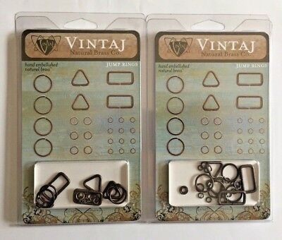 Vintaj Natural Brass Assorted Jump Rings Rectangle Triangle Antique Connectors