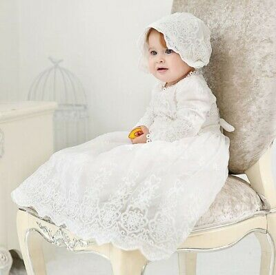 Girls Long Sleeves White Christening Gown Baptism Birthday Lace Dress Size 0-2Y