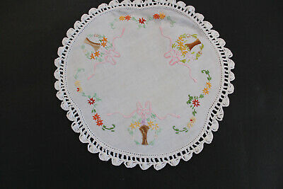 Vintage round white linen hand embroidered doily with pink ribbon bows & flowers