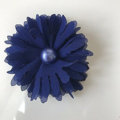 Small Navy fabric Flower  Hair Clip for Special Occasions Approx 6cm Diameter