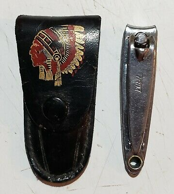 Vtg Trim Bassett Nail Clippers in Frontier Truck Lines Advertising Snap Pouch