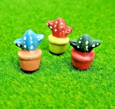 Cactus tree Garden mini ceramic clay dollhouse miniature Figurine (3pc) #175