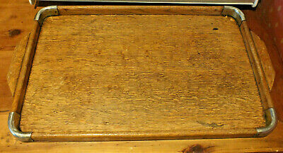 Vintage Art Deco wooden oak serving tray with chrome corners 1930s tea tray