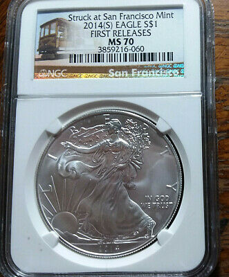2014 S American Silver Eagle MS70 NGC First Release PERFECT COIN Trolley Label