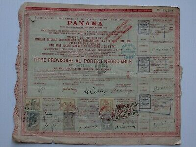 stock / share certificate 1888 Panama Canal