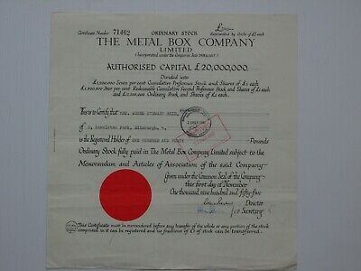 share certificate - 1955 Metal Box Company