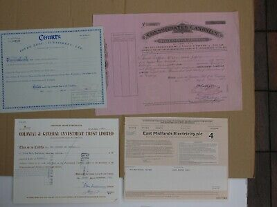 (M) Group of 4 British share certificates