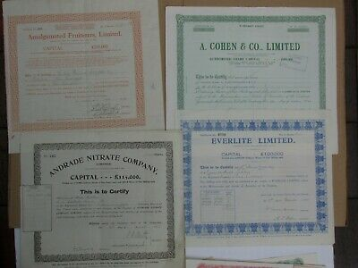 (i) Group of 4 British share certificates