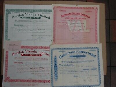(h) Group of 4 British share certificates