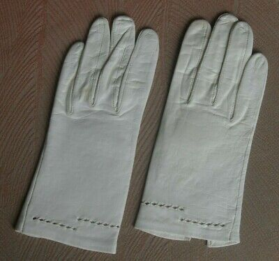 Vintage cream french leather gloves size 71/2, gc