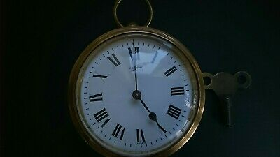 Antique Brass Drum Clock With French Movement J H Potter Sheffield Working With
