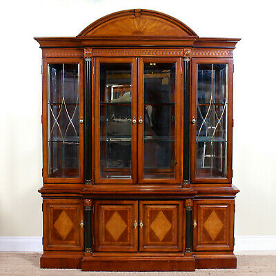 Empire Mahogany Glazed Bookcase Breakfront Display Cabinet Antique Vintage
