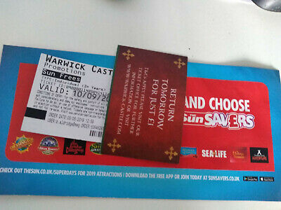 2 Tickets For Warwick Castle For Tuesday 10Th September 2019 10/09/2019