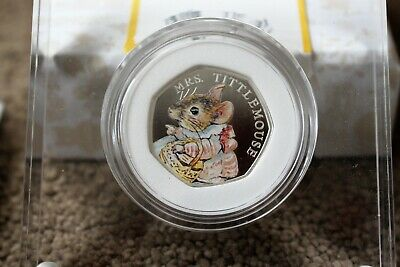 RoyalMint 2018 Beatrix Potter Tittle Mouse Silver Proof 50p Coin Limited Edition