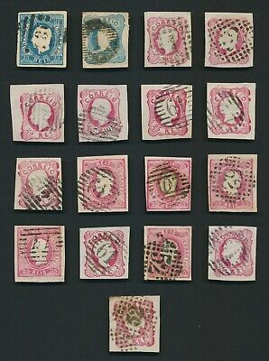 Portugal Stamps 1853-1866 Selection Of Isabella, Pedro & Luis Imperfs F/Vfu