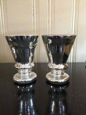 Pair Of Mercury Glass Urns, Two Matching Urns, Age Unknown, Very Good Condition
