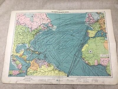 1920 Vintage Map of the North Atlantic Ocean Maritime Steam Ship Routes  Large