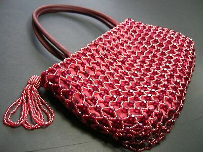 Vintage Red Beaded Evening Bag with Tassel - 1980s