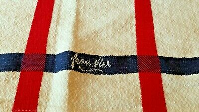 Vtg La Maison Jean Vier Basque French Tablecloth Red White Blue Cotton Linen