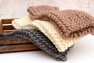Garter Stitch Blanket, Chunky Mini-blanket, Newborn Photo Prop, Posing Blanket