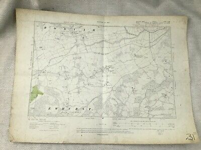 1910 Original Antique Map of East Sussex Kent Ewhurst Bodiam Robertsbridge Old