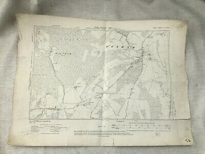 1908 Antique Map of Kent Canterbury Waltham Petham Village County Old Original