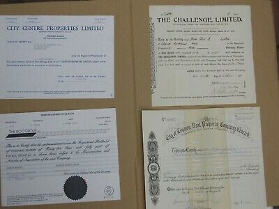 (e) Group of 4 British share certificates