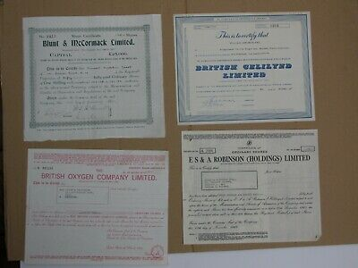 (b) Group of 4 British share certificates