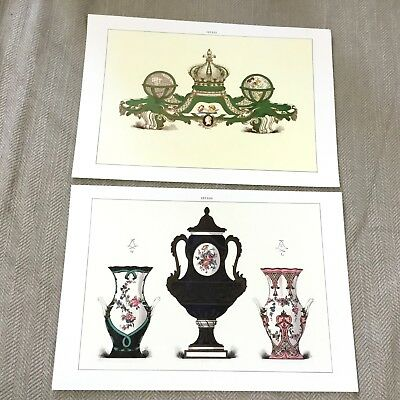 Antique Sevres Porcelain Prints Edouard Garnier Vase Vintage Colour Lithographs