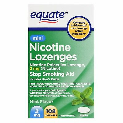 Equate Mini Nicotine Lozenges, Mint Flavor, 2 mg, 108 Count