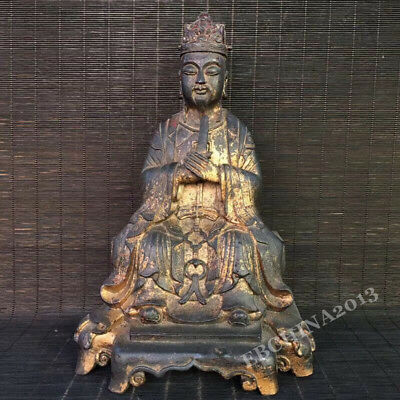 "9.6"" Collect Old China Antique Bronze Carved Taoism Religion Worship God Statue"