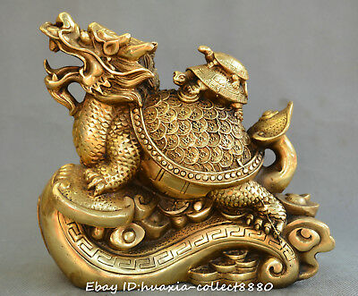 Collect Chinese fengshui old bronze Dragon turtle ruyi yuanbao auspicious statue