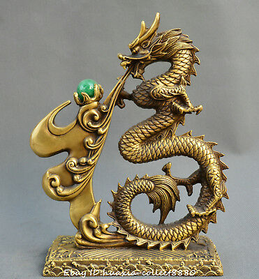 Exquisite Chinese old bronze blessing dragon play pearl wealth lucky statue