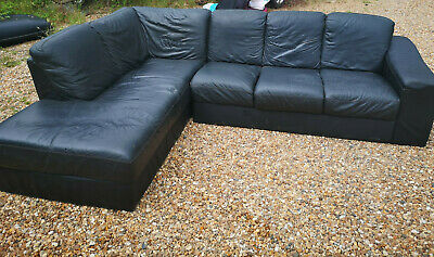 Admirable Used Black Leather Sofa Chair 40 00 Picclick Uk Camellatalisay Diy Chair Ideas Camellatalisaycom