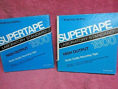 """2 Reels Realistic Supertape Lo-Noise Recording Tape 1800 Ft 7"""" reel to open reel"""