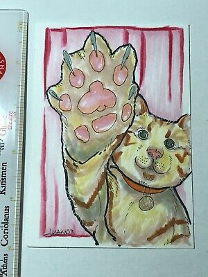 Goose The Flurken - Captain Marvel Original Cat Art Sketch Signed Amanda Rachels