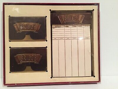 Vintage  Bronze Bridge Card Holder Set With Score Pad And Two Decks Of Cards