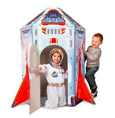 Melissa and Doug Cardboard Rocket Ship Indoor Playhouse