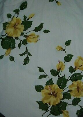Vintage Tablecloth Hibiscus Yellow California Hand Prints