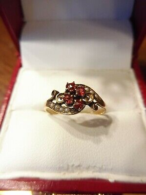 Antique Victorian 10K Rose Gold Rose Cut Garnet & Seed Pearl Ring (775)