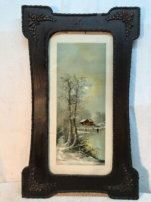 Vtg RARE Antique Victorian Barbola Ornate Frame Chandler 1895 Lithograph Art LG