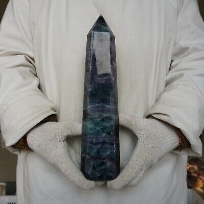 "5.9LB 12.4"" Natural Rainbow Fluorite Quartz Crystal Point Tower Polished Healing"