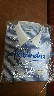 BNWT Alexandra workwear white/blue Striped long sleeve Size14 white collar