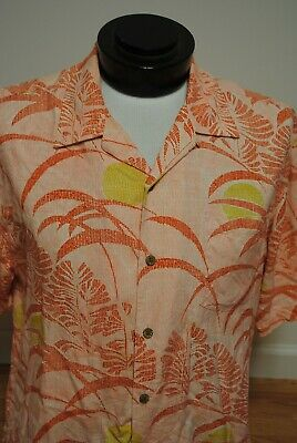 Tommy Bahama Shirt Button-Front Pink Floral Silk $129 Hawaiian L Large G27