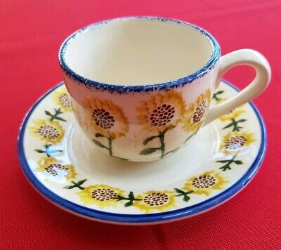 Vintage Brixton pottery Emma Bridgewater sunflower cup and saucer, lot 2.