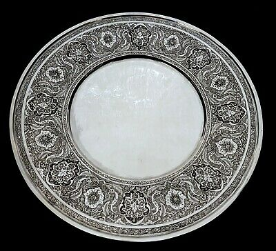 Fine Antique Middle Eastern Islamic Persian Style Solid Silver Signed Tray 543g