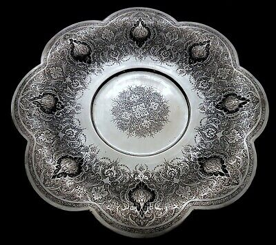 Antique Middle Eastern Islamic Persian Style Low Grade Silver Signed Tray 547g