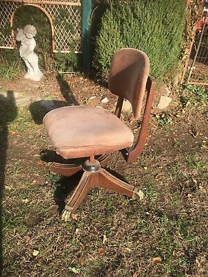 Antique Wood  Rolling Swivel Office Lawyer Banker Desk Chair Brass Claw Feet