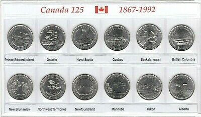 Canada 1992 125th Anniversary Provincial BU UNC Commemorative 12 Coin Set!!